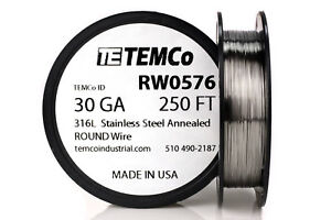 Temco Stainless Steel Wire Ss 316l 30 Gauge 250 Ft Non resistance Awg Ga