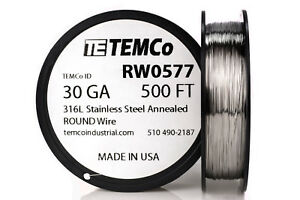 Temco Stainless Steel Wire Ss 316l 30 Gauge 500 Ft Non resistance Awg Ga