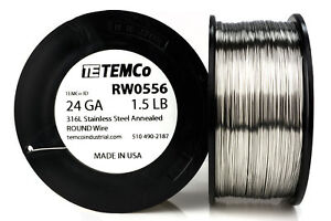 Temco Stainless Steel Wire Ss 316l 24 Gauge 1 5 Lb Non resistance Awg Ga