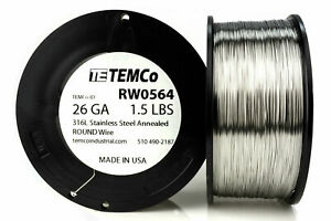 Temco Stainless Steel Wire Ss 316l 26 Gauge 1 5 Lb Non resistance Awg Ga