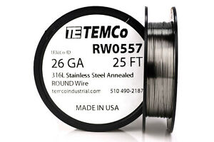Temco Stainless Steel Wire Ss 316l 26 Gauge 25 Ft Non resistance Awg Ga