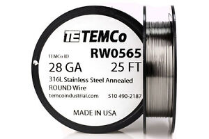 Temco Stainless Steel Wire Ss 316l 28 Gauge 25 Ft Non resistance Awg Ga
