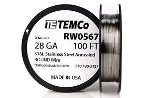 Temco Stainless Steel Wire Ss 316l 28 Gauge 100 Ft Non resistance Awg Ga