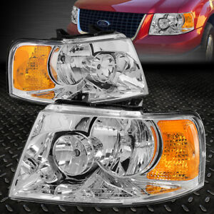 For 2003 2006 Ford Expedition Chrome Housing Amber Side Bumper Headlight Lamp