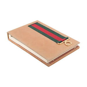 Authentic Gucci Vintage Tan Leather Desk Notepad Notebook Holder W Stripes