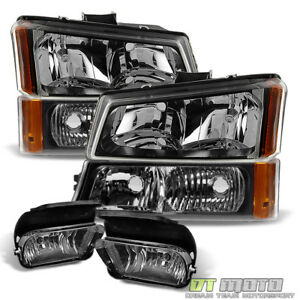6pc 2003 2006 Chevy Silverado Headlights Bumper Signal Lamp Driving Fog Lights