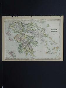 Antique Map Black S 1862 Greece M7 38