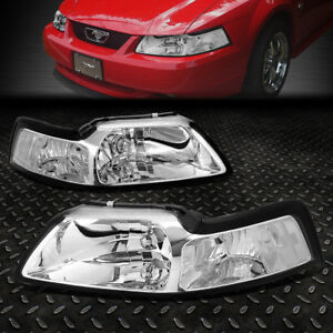 For 1999 2004 Ford Mustang Pair Chrome Housing Clear Corner Headlight lamp Set