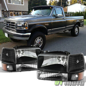 1992 1996 Ford Bronco F150 F250 F350 Headlights bumper Signal Corner Lamps Pair