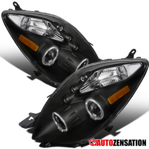 For 06 08 Toyota Yaris Hatchback 3dr Black Dual Halo Led Projector Headlights