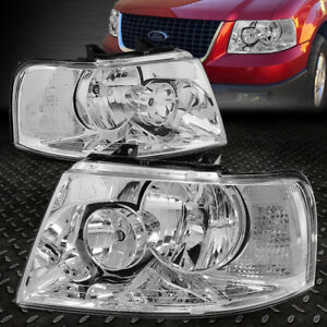 For 03 06 Ford Expedition Chrome Housing Clear Corner Headlight Replacement Lamp