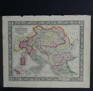 Antique Map Mitchell 1865 Italy Greece Turkey M8 01