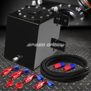 1 Gallon 3 75 Liter Coated Racing Fuel Cell Gas Tank cap steel Braided Line Kit