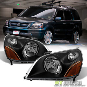 For Blk 2003 2005 Honda Pilot Replacement Headlights Headlamps 03 05 Left Right