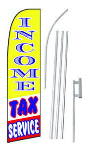 Income Tax Service Yellow blue red Extra Wide Swooper Flag Bundle