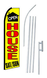 Open House Saturday Sunday Extra Wide Swooper Flag Bundle