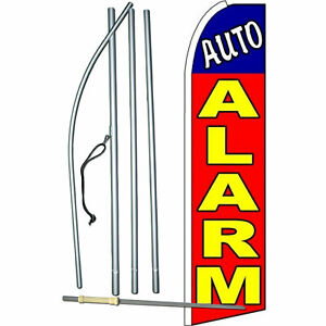 Auto Alarm Red Yellow Blue Extra Wide Swooper Flag Bundle