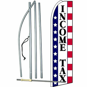 Income Tax Stars Stripes Extra Wide Swooper Flag Bundle