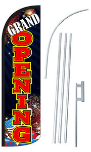 Grand Opening Extra Wide Windless Swooper Flag Bundle
