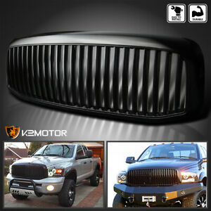 For 2006 2008 Dodge Ram 1500 2500 3500 Vertical Front Bumper Hood Grille Black