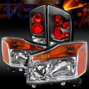 For Nissan 05 07 Armada Chrome Amber Headlights black Rear Tail Lamps