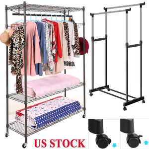 Shelving Garment Rack 3 Tier Closet Storage Organizer Rolling Hook Adjustable
