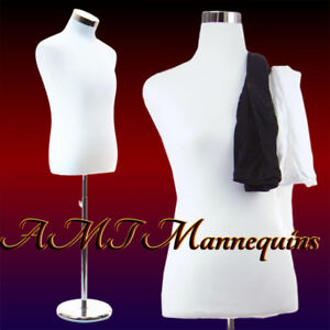 18 38 32 Male Mannequin Dress Form Stand 2 Jerseys White black Torso pb 102