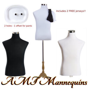 18 38 32 Male Mannequin Dressform Stand 2 Jerseys White black Torso mf 102