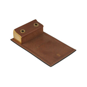 Authentic Gucci Vintage Brown Leather Desk Notepad Notebook Holder Pen Slots