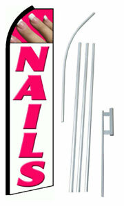 Nails White Extra Wide Swooper Flag Kit