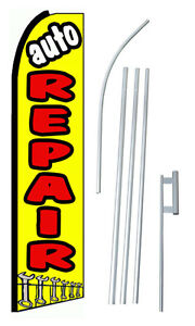 Auto Repair Yellow Extra Wide Swooper Flag Kit
