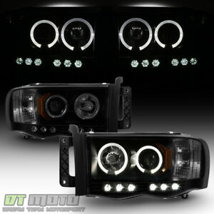 Black Smoke 2002 2005 Dodge Ram 1500 2500 3500 Led Halo Projector Headlights Set