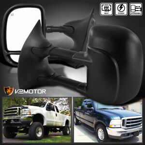 99 07 Ford F250 F350 F450 F550 Super Duty Power heated Towing Side Mirrors Pair