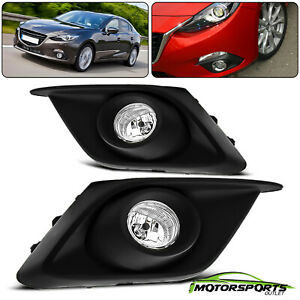 2014 2016 Mazda 3 Bumper Clear Lens Fog Lights Pair Left Right Wires Switch