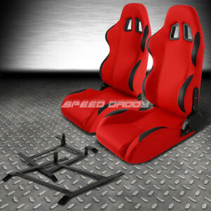 Red Cloth black Reclinable Racing Seat low mount Bracket For 03 09 Nissan 350z Z