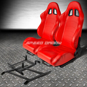 Red Pvc Leather Reclinable Racing Seat Low Mount Bracket For 03 09 Nissan 350z Z