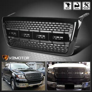 Fit 2004 2008 Ford F150 Raptor Style Bumper Hood Grille Black Carbon Fiber Look