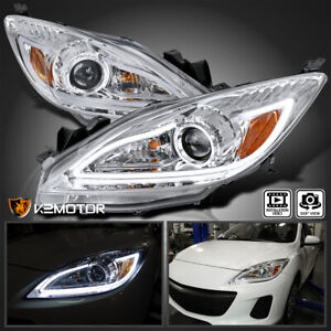 For 2010 2013 Mazda 3 Led Strip Crystal Clear Projector Headlights Left Right