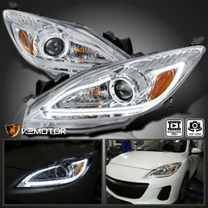 For 2010 2013 Mazda 3 Clear Projector Headlights Lamps Led Strip Left Right Pair