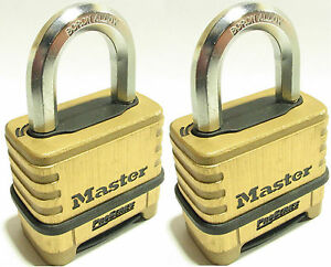 Combination Lock Set By Master 1175 lot Of 2 Resettable Brass Sealed Carbide