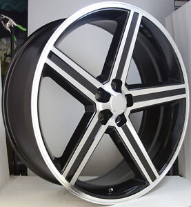 20 Iroc 20x8 5 Irocs Black Machined 5x120 Mustang El Camino Wheel Rims Set