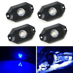 Blue 3 Cree 9w High Power Led Rock Light Kit For Jeep Truck Suv Off Road Boat