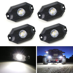 White 3 Cree 9w High Power Led Rock Light Kit For Jeep Truck Suv Off Road Boat