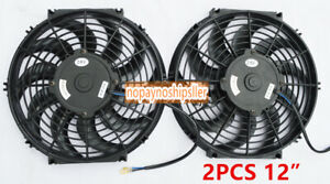 2pc 12 Inch Universal Pull Push Car Radiator Engine Trans Cooling Fan Mounting