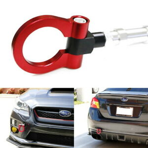 Red Track Racing Style Cnc Aluminum Tow Hook Ring For 15 up Subaru Wrx Or Sti