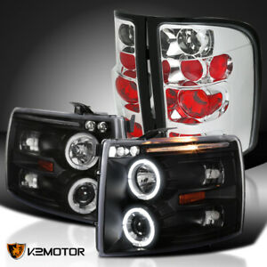 07 14 Chevy Silverado 1500 Black Led Halo Projector Headlights clear Tail Lamps