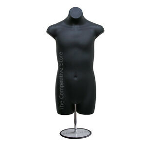 Teen Boy Black Dress Mannequin Form With Metal Base For Boy Sizes 10 12