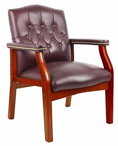 Boss Office B959 by Traditional Oxblood Vinyl Guest Chair W Mahogany Finish New