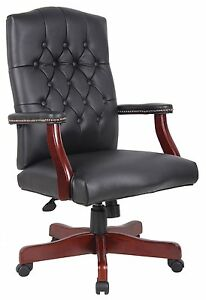 Boss Office Traditional Executive Blk Caressoft Chair With Mahogany Finish Black