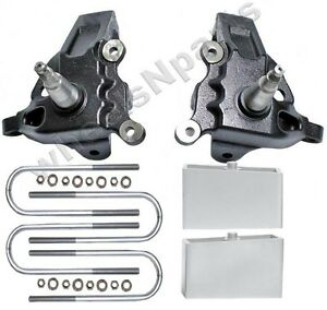 3 5 Front Lift Spindles 3 Rear Aluminum Blocks Kit Ford F150 1997 2003 2wd